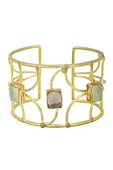Gold Finish Lime Onyx Bracelet by Zerokaata
