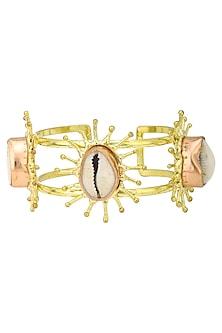 Gold Finish Hand Cuff with White Semi Precious Stone by Zerokaata