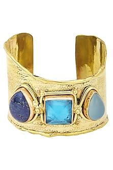 Gold Finish Blue Crystal Stones Hand Cuff by Zerokaata