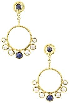 Gold Finish Lapis Pearl Earrings by Zerokaata