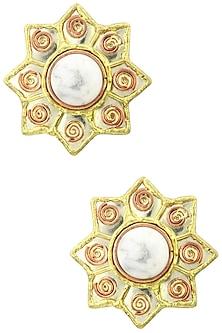 Gold Finish Star Shaped Howlite Earrings by Zerokaata