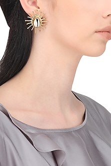Gold Finish Kori Shell Earrings by Zerokaata