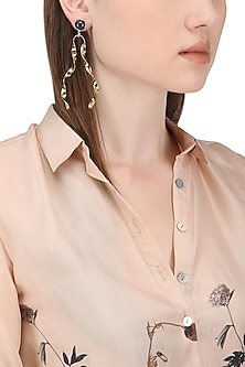 Gold Finish Semi Precious Stones and White Tassel Earrings by Zerokaata