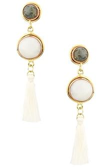 Gold Finish White Agate Earrings by Zerokaata