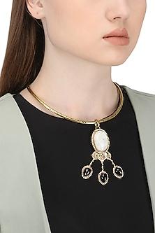Gold Finish Black Onyx Necklace by Zerokaata