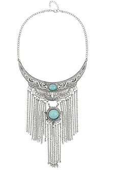 Oxidized Rhodium Plated Turque Chandlier Necklace by Zerokaata