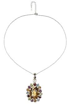 Silver plated multicolor stone pendant by Zerokaata
