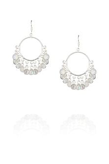 Silver plated moonstone fish hook earrings by Zerokaata