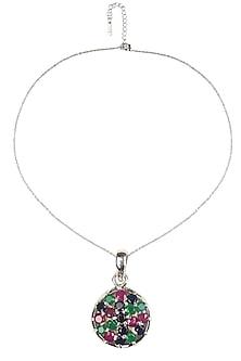 Silver plated multicolor stone round pendant by Zerokaata
