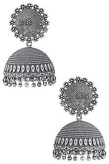 Silver plated jhumki earrings by ZEROKAATA
