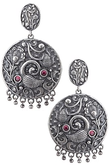 Silver plated red stone earrings by ZEROKAATA