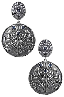 Silver plated floral blue stone earrings by ZEROKAATA