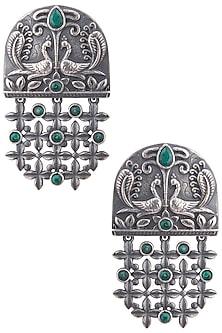 Silver plated floral mesh earrings by ZEROKAATA