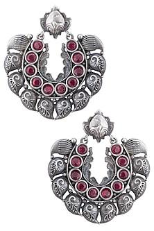 Silver plated deep red stone earrings by ZEROKAATA