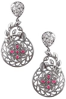 Silver plated red stone dangler earrings by ZEROKAATA