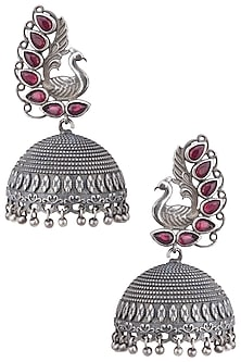 Silver plated purple stone jhumki earrings by ZEROKAATA