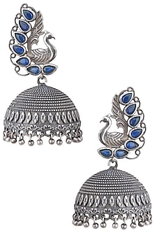 Silver plated green stone peacock jhumki earrings by ZEROKAATA