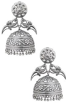 Silver plated rajasthani peacock jhumki earrings by ZEROKAATA
