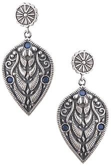 Silver pleated blue stone leaf earrings by ZEROKAATA