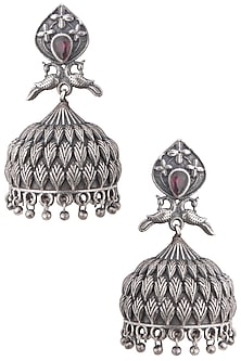 Silver plated classic peacock vintage style earrings by ZEROKAATA