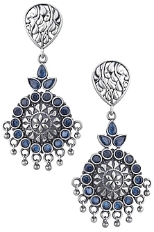 Silver plated blue stone floral earrings by ZEROKAATA