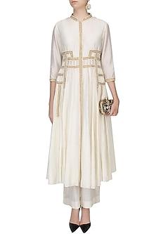 Ivory Pearl Work Afghani Jacket With Wide Leg Pants by Zoraya