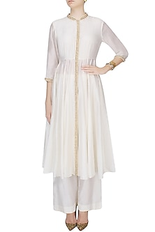 Ivory Pearl Work Pleated Afghani Jacket With Matching Wide Leg Pants by Zoraya