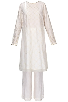 Ivory Textured Badla Work Kaftan With Wide Leg Pants