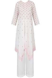 Ivory and Pink Badla Work Asymmetric Kaftan With Wide Leg Pants
