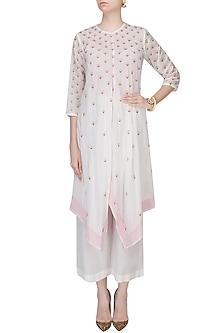 Ivory and Pink Badla Work Asymmetric Kaftan With Wide Leg Pants by Zoraya