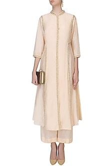 Peach Pearl Work Pleated Afghani Jacket With Wide Leg Pants by Zoraya