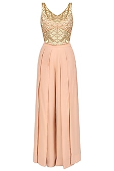 Blush Handcut Motifs Jacket Style Crop Top and Pleated Pants Set