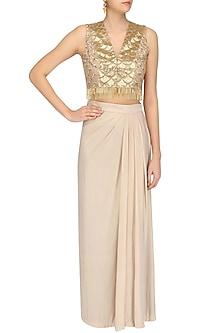 Gold Blush Handcut Motifs Crop Top and Skirt Set by Zoraya