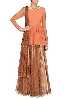 Orange Handcut Motifs Peplum Kedia Top With Ox Blood Printed Skirt by Zoraya