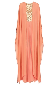Orange Handcut Motifs Pleated Cape Sleeves Jumpsuit