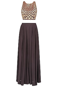 Brown Handcut Motifs Crop Top and Pleated Pants Set