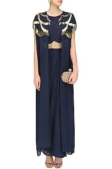 Navy blue handcut motifs front open shrug, crop top and skirt set by Zoraya