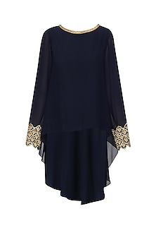 Navy Blue Handcut Work Kaftan Top