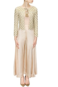 Ivory Pearl Jacket with Front Tassel Tie-Up by Zoraya