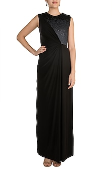 Black Draped Gown With Ombre Embellishment by Zwaan