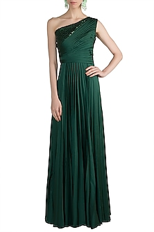 Green Embellished One Shoulder Gown by Zwaan