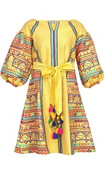 Yellow geometric embroidered tafta dress