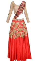 Red rose embroidered motifs flared lehenga set with mouse colour blouse
