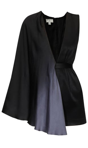 Black and grey ombre two tone draped dress