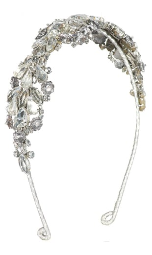 Antique silver crystal owl headband