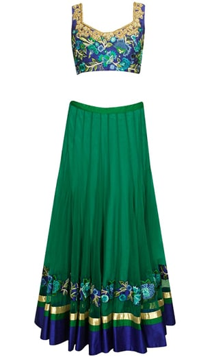 Teal floral resham embroidered lehenga set
