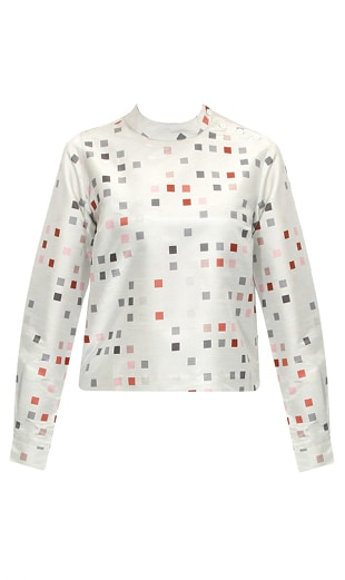 Grey madarin collared digital pixel printed top